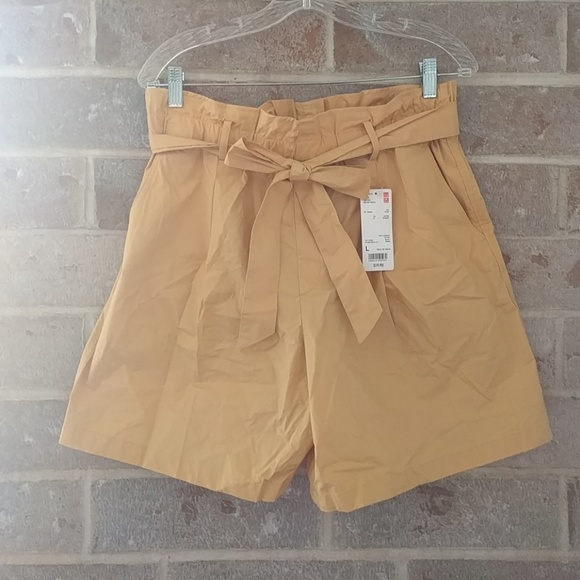 69f8cbe59c Uniqlo Shorts | Mustard High Rise Belted | Poshmark